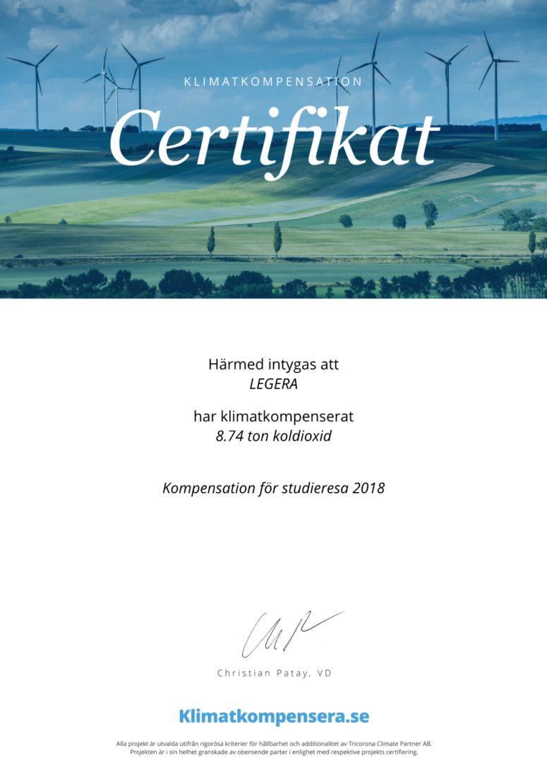 LEGERA Certifikat Klimatkompensation studieresa